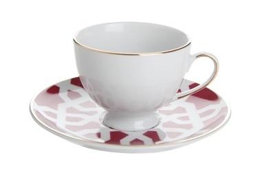 Porland Morocco Tabaklı Kahve Fincanı Desen5 Fuşya 80cc Fuşya